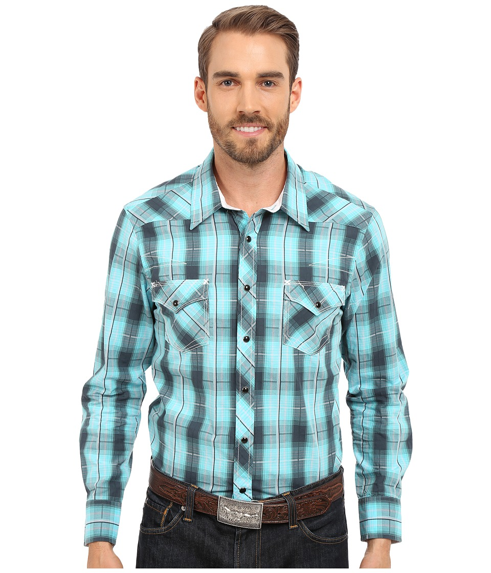 Rock and Roll Cowboy - Long Sleeve Snap B2S6384 (Green) Men's Clothing