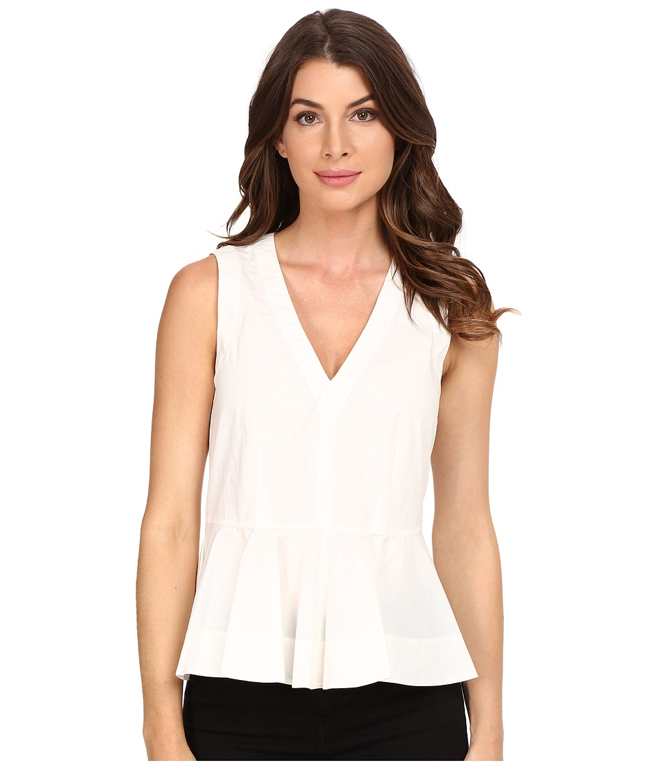 Rebecca Taylor - Cotton Poplin Peplum Top (Snow) Women's Sleeveless