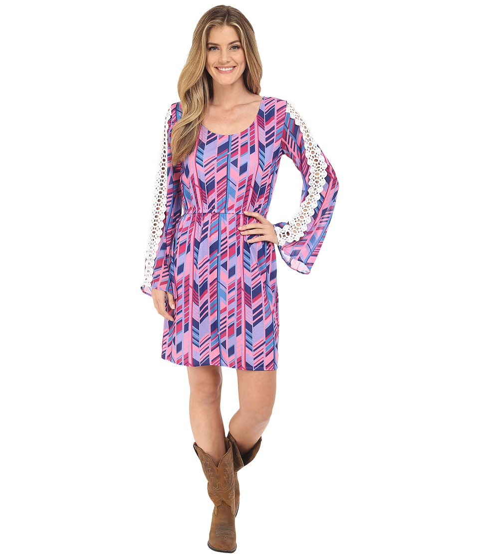 Rock and Roll Cowgirl - Bell Sleeves Dress 18-6718 (Fuchsia) Women's Dress