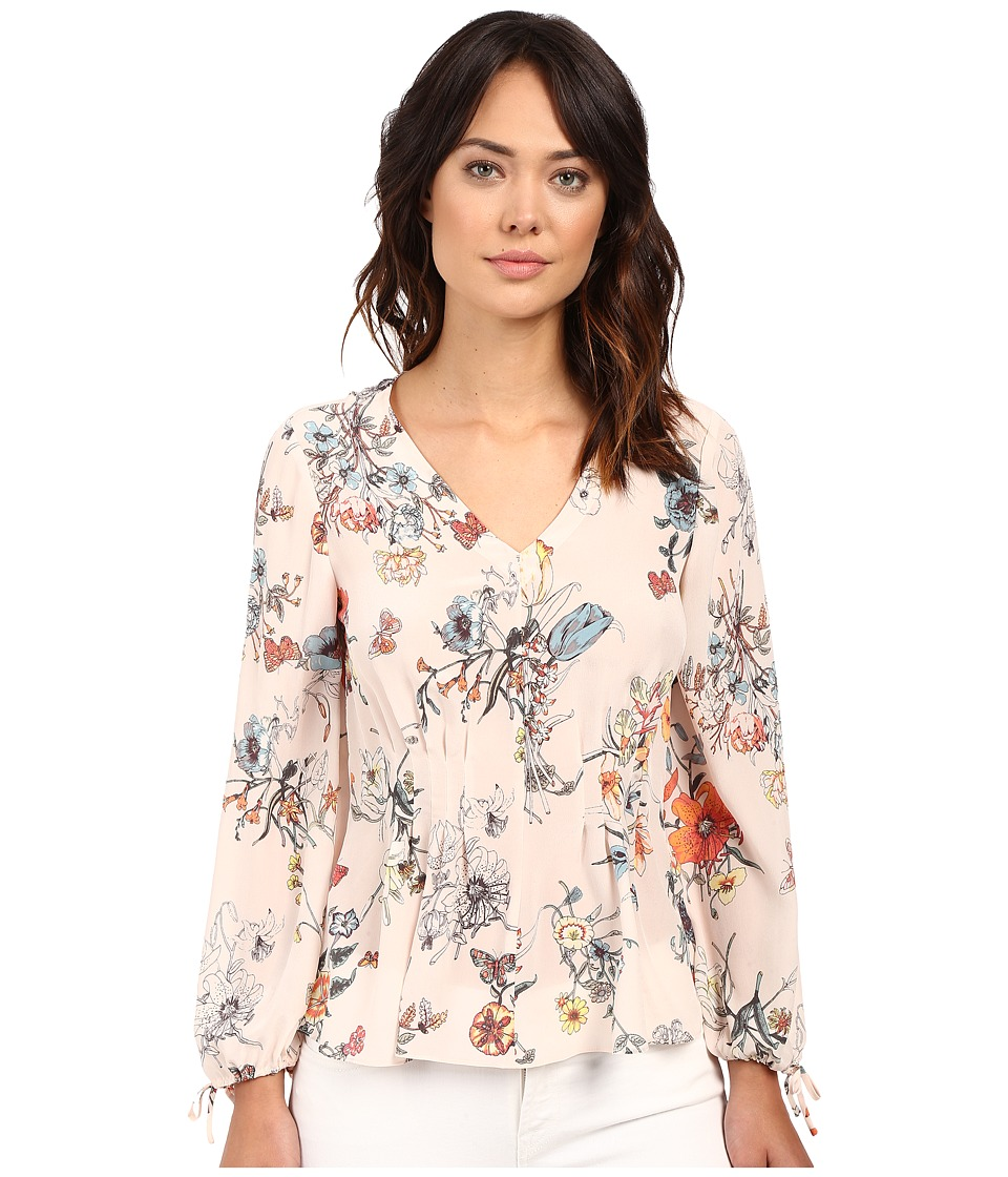 Rebecca Taylor - Meadow Floral Print Long Sleeve Blouse (Pink Combo) Women's Blouse