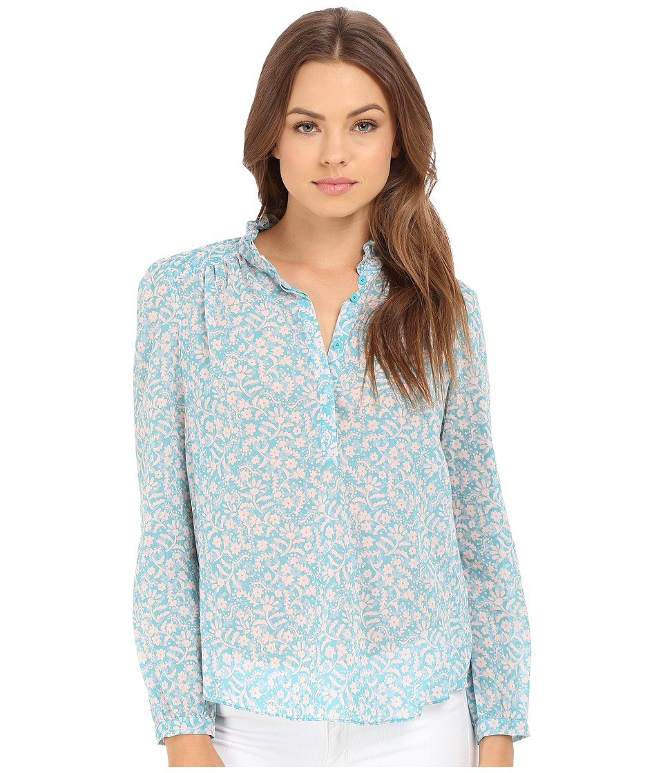 Rebecca Taylor - Provence Block Print Long Sleeve Top (Turquoise Combo) Women's Long Sleeve Pullover