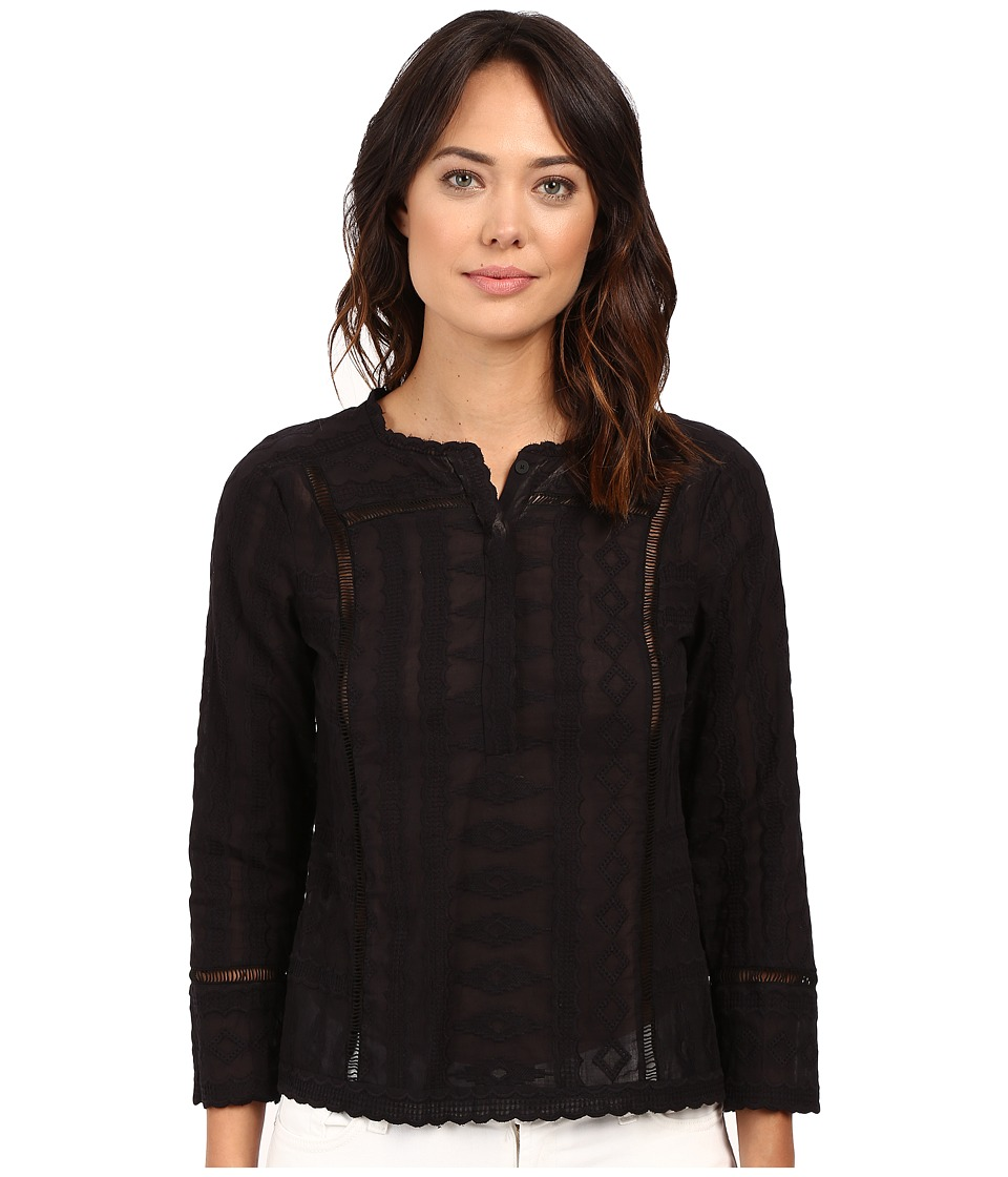 Rebecca Taylor - Embroidered Gauze Long Sleeve Embroidered Gauze Top (Black) Women's Long Sleeve Pullover