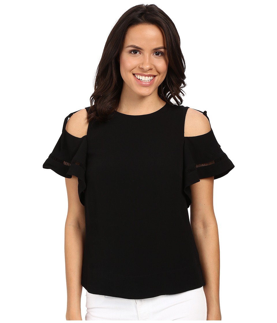 Rebecca Taylor - Lila Crepe with Trims Short Sleeve Open Shoulder Top (Black) Women's Blouse