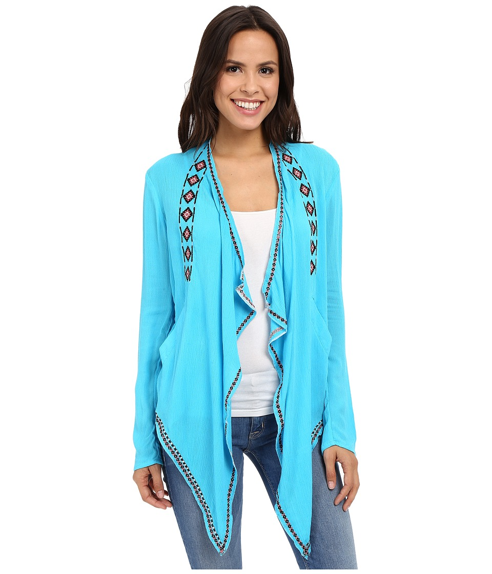 Rock and Roll Cowgirl - Long Sleeve Cardigan B4-6199 (Turquoise) Women's Sweater