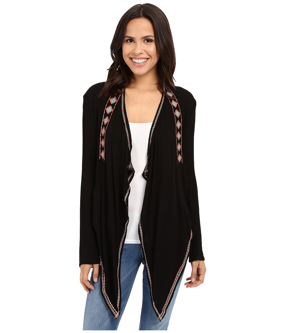 Rock and Roll Cowgirl - Long Sleeve Cardigan B4-6197 (Black) Women's Sweater