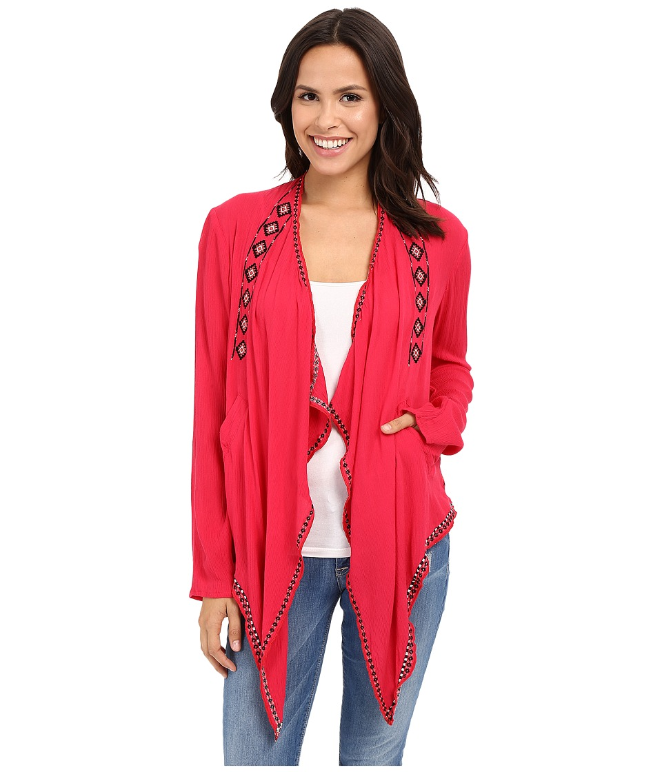 Rock and Roll Cowgirl - Long Sleeve Cardigan B4-6198 (Coral) Women's Sweater