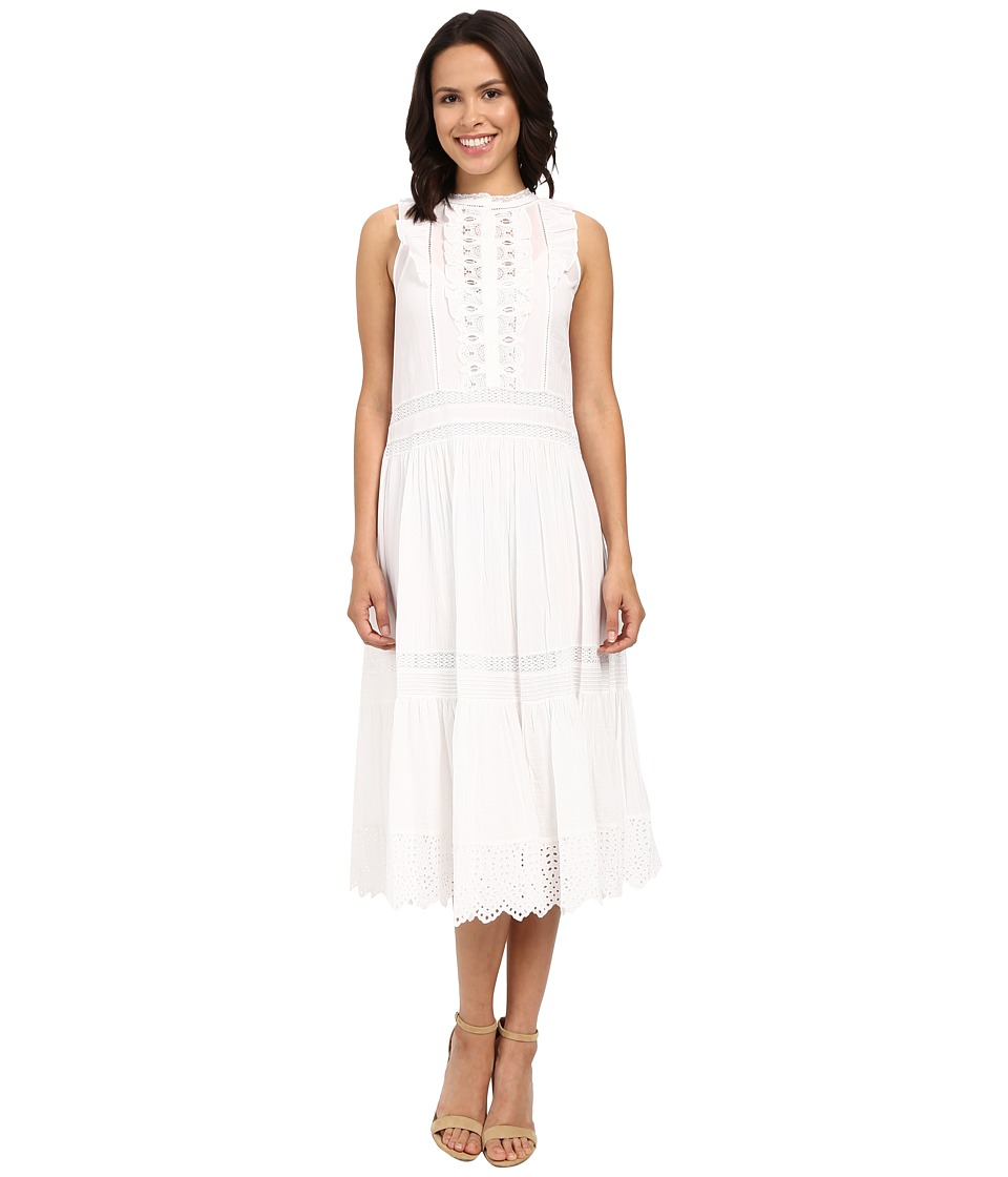 Rebecca Taylor - Victorian Voile Sleeveless Voile Lace Dress (Sea Salt) Women's Dress