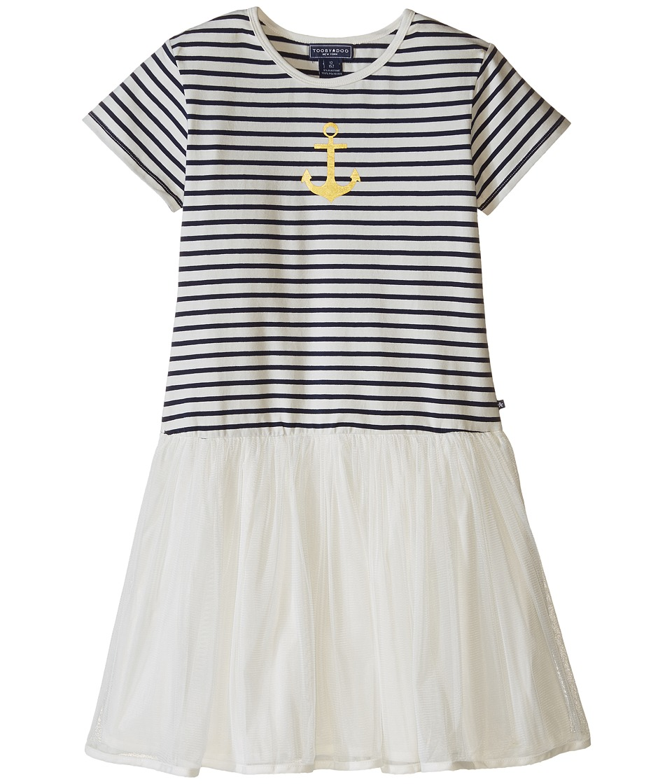 Toobydoo - Short Sleeve Tulle Dress (Toddler/Little Kids/Big Kids) (Navy/White/Gold/Tulle Skirt) Girl's Dress