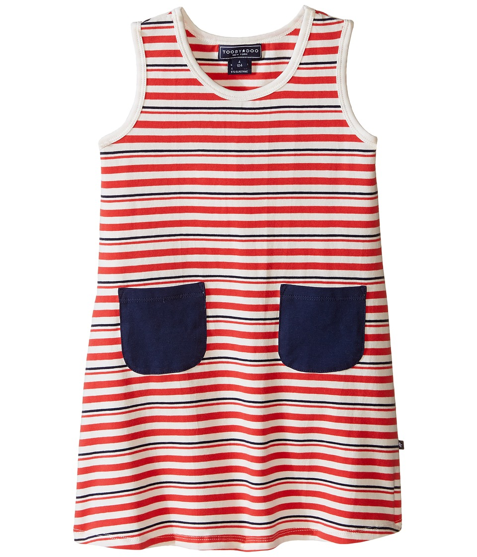 Toobydoo - Tank Dress w/ Navy Pockets (Infant/Toddler) (Red/White/Navy) Girl's Dress