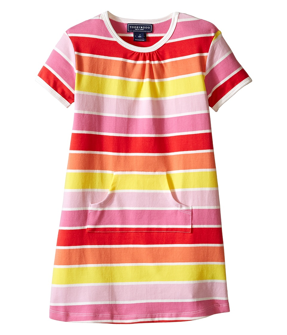 Toobydoo - Short Sleeve Dress w/ Pink/Yellow/Orange (Infant/Toddler) (Yellow/Orange/Red/Pink) Girl's Dress