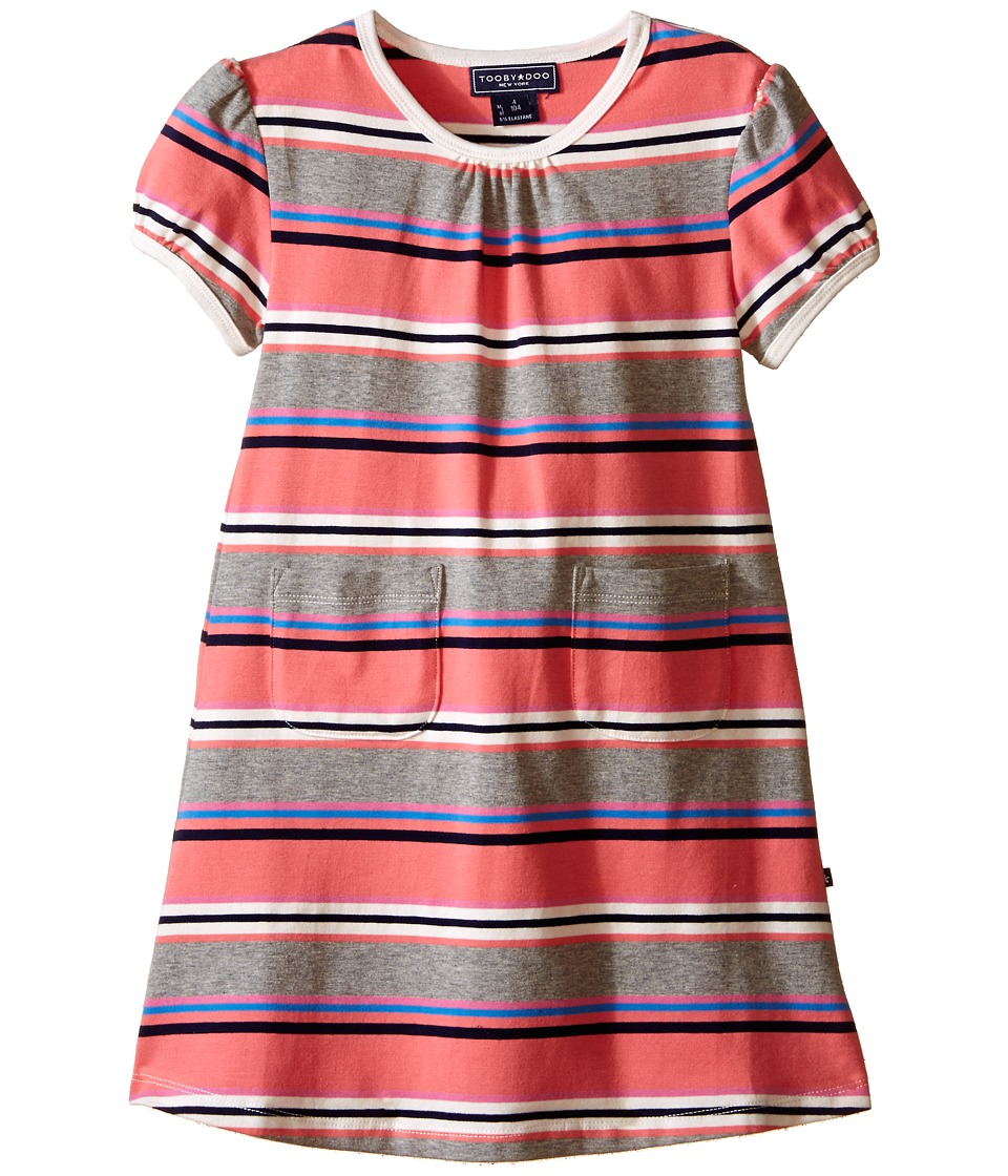 Toobydoo - Short Sleeve Dress w/ Grey/Pink/Navy (Infant/Toddler) (Red/Navy/Blue/White) Girl