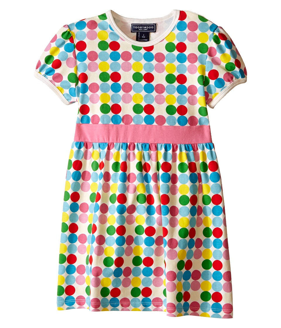 Toobydoo - Short Sleeve Dot Dress w/ Navy Belt (Infant/Toddler) (Green/Blue/Red/Yellow/White Dot) Girl's Dress