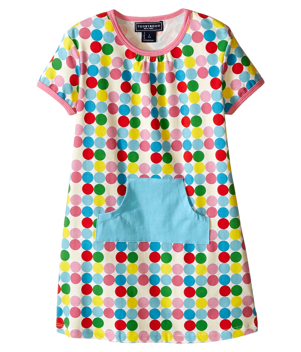 Toobydoo - Short Sleeve Dot Pocket Dress w/ Blue Pocket (Infant/Toddler) (Green/Blue/Red/Yellow/White Dot) Girl's Dress
