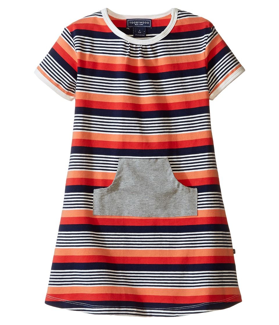 Toobydoo - Short Sleeve Dress w/ Grey Pocket (Infant/Toddler) (Orange/Red/Navy/White) Girl's Dress