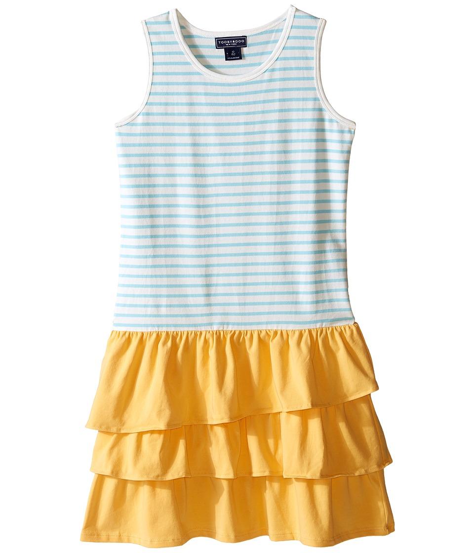 Toobydoo - Ruffle Tank Dress (Toddler/Little Kids/Big Kids) (Blue/White/Yellow Ruffle Skirt) Girl's Dress