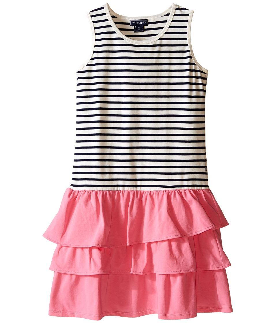 Toobydoo - Ruffle Tank Dress (Toddler/Little Kids/Big Kids) (Navy/White/Pink Ruffle Skirt) Girl's Dress
