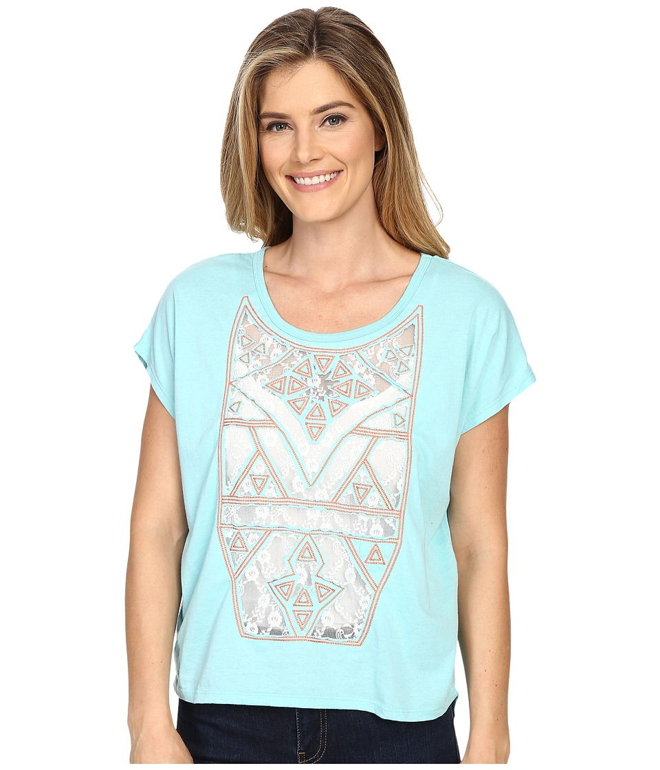 Rock and Roll Cowgirl - Short Sleeve Knit 47-6253 (Turquoise) Women's Short Sleeve Pullover