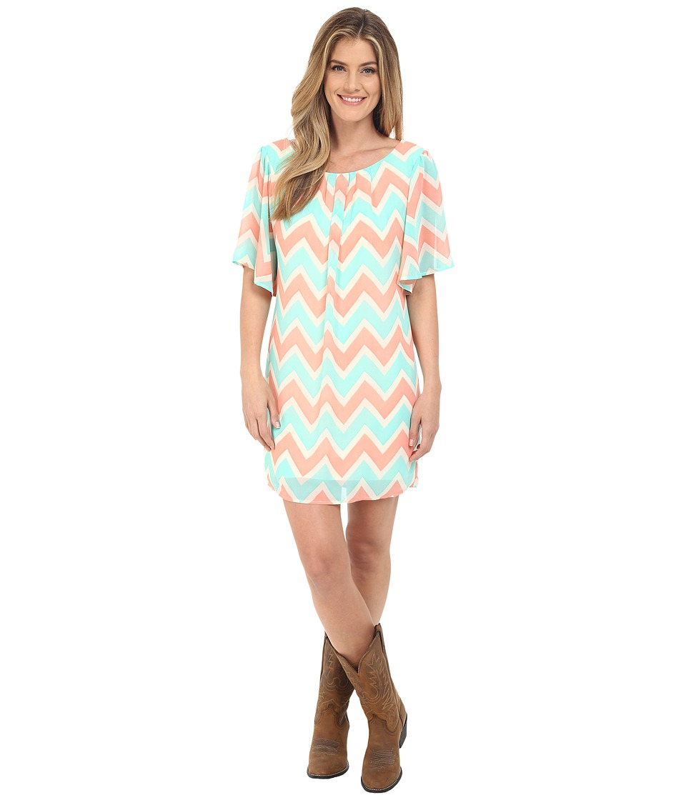 Rock and Roll Cowgirl - Flared Sleeve D5-6720 (Natural) Women's Dress