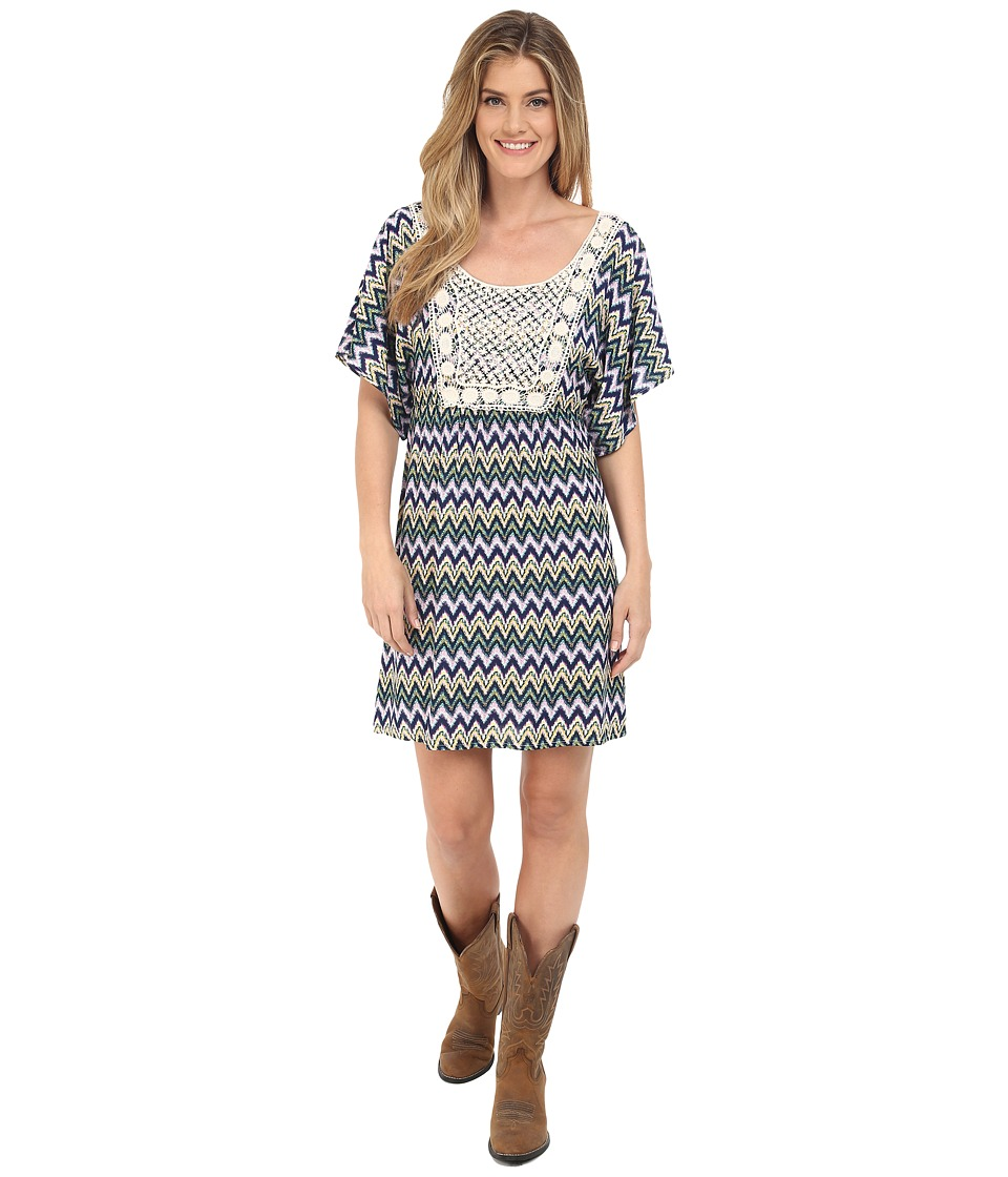 Rock and Roll Cowgirl - Kimono Sleeve D5-6726 (Navy) Women's Dress