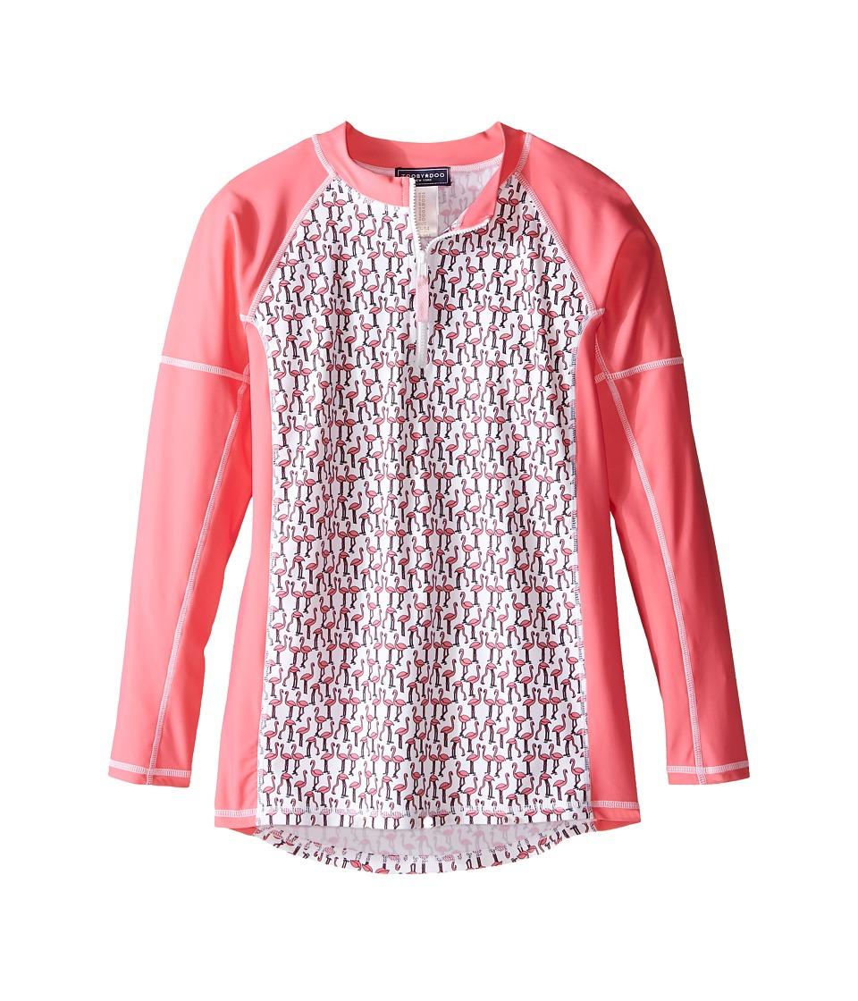 Toobydoo - Flamingo Long Sleeve Rashguard (Infant/Toddler/Little Kids/Big Kids) (Pink/White Flamingo Design) Girl's Swimwear