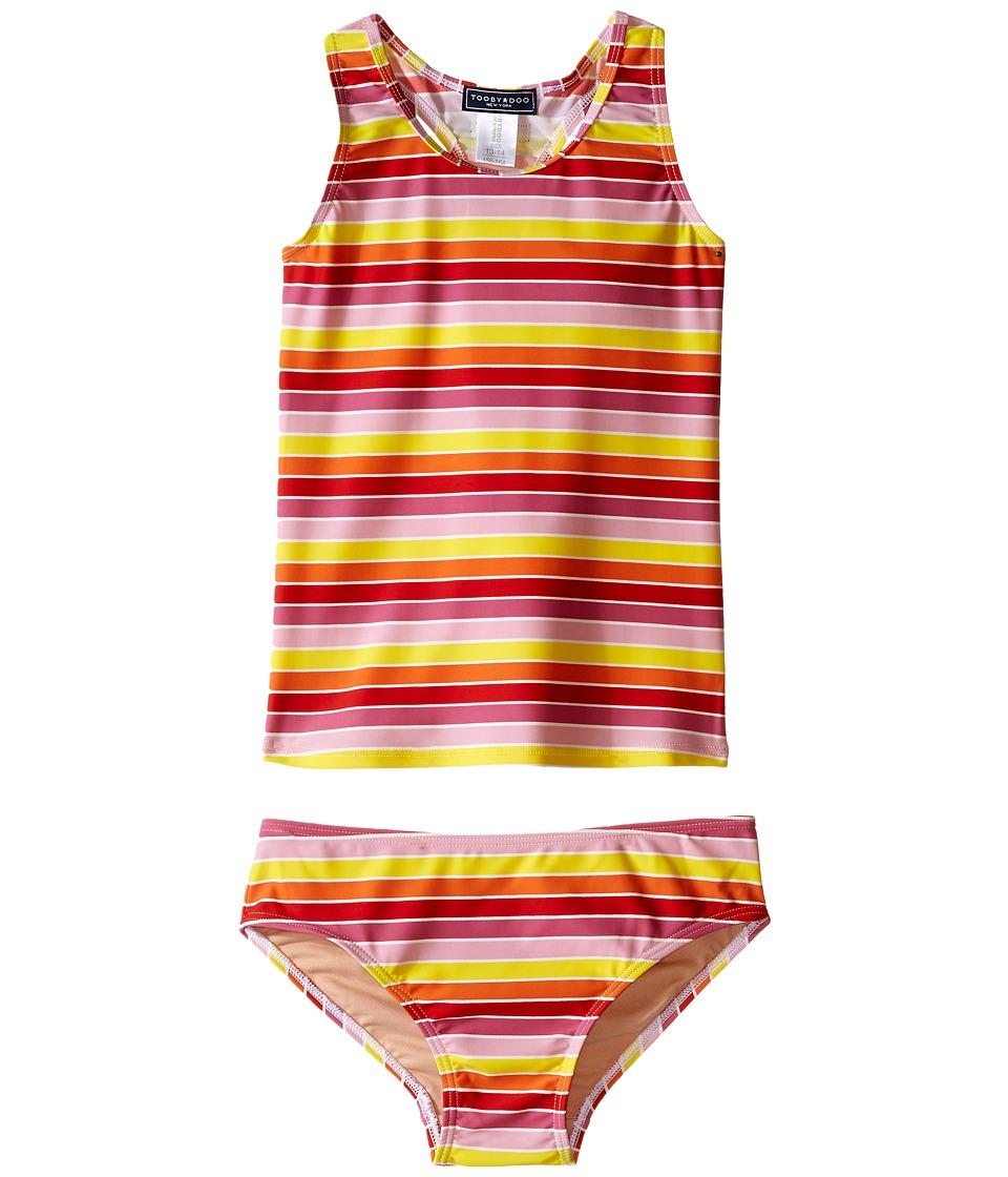 Toobydoo Multi Stripe Tankini (Infant/Toddler/Little Kids/Big Kids) (Yellow/Orange/Red/Pink) Girl