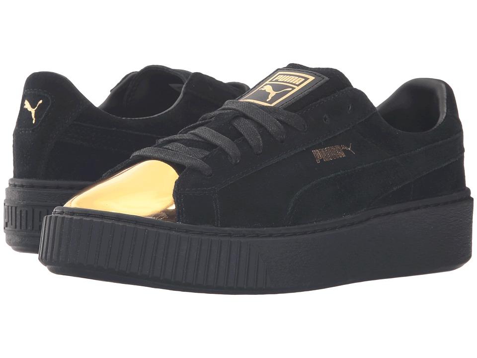 PUMA - Suede Platform Gold (Gold/Puma Black/Puma Black) Women's Shoes