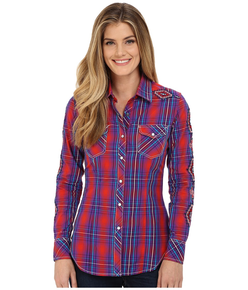 Rock and Roll Cowgirl - Long Sleeve Snap B4S6046 (Red) Women's Long Sleeve Button Up