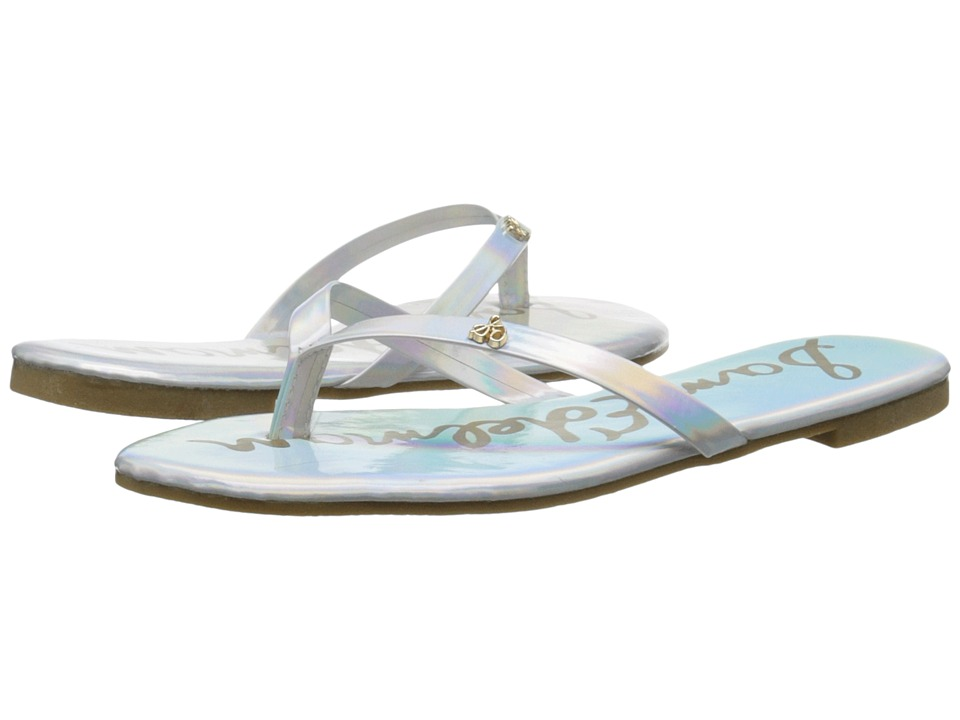 Sam Edelman Kids - Olivia Charm Thong (Little Kid/Big Kid) (Silver Holographic) Girl's Shoes