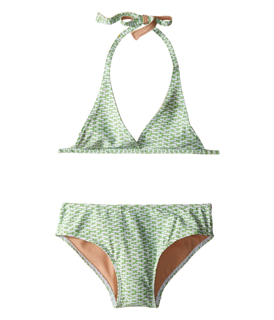 Toobydoo - Green/White String Bikini (Infant/Toddler/Little Kids/Big Kids) (Green/White) Girl's Swimwear Sets
