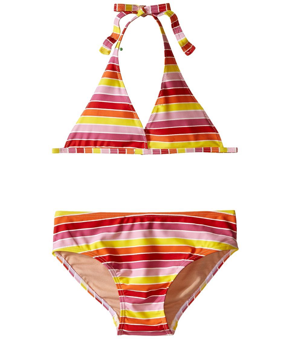 Toobydoo Multi Stripe String Bikini (Infant/Toddler/Little Kids/Big Kids) (Yellow/Orange/Red/Pink) Girl