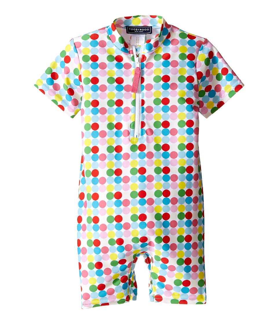 Toobydoo - Dot/White Stripe Short Sleeve Sunsuit (Infant) (Green/Blue/Red/Yellow/White Dot) Girl's Jumpsuit & Rompers One Piece