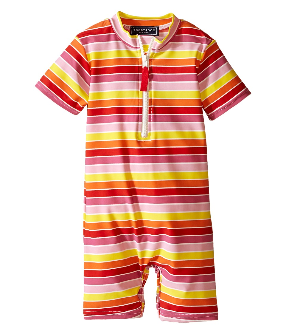 Toobydoo - Multi Stripe/White Zip Short Sleeve Sunsuit (Infant) (Yellow/Orange/Red/Pink) Girl's Swimsuits One Piece