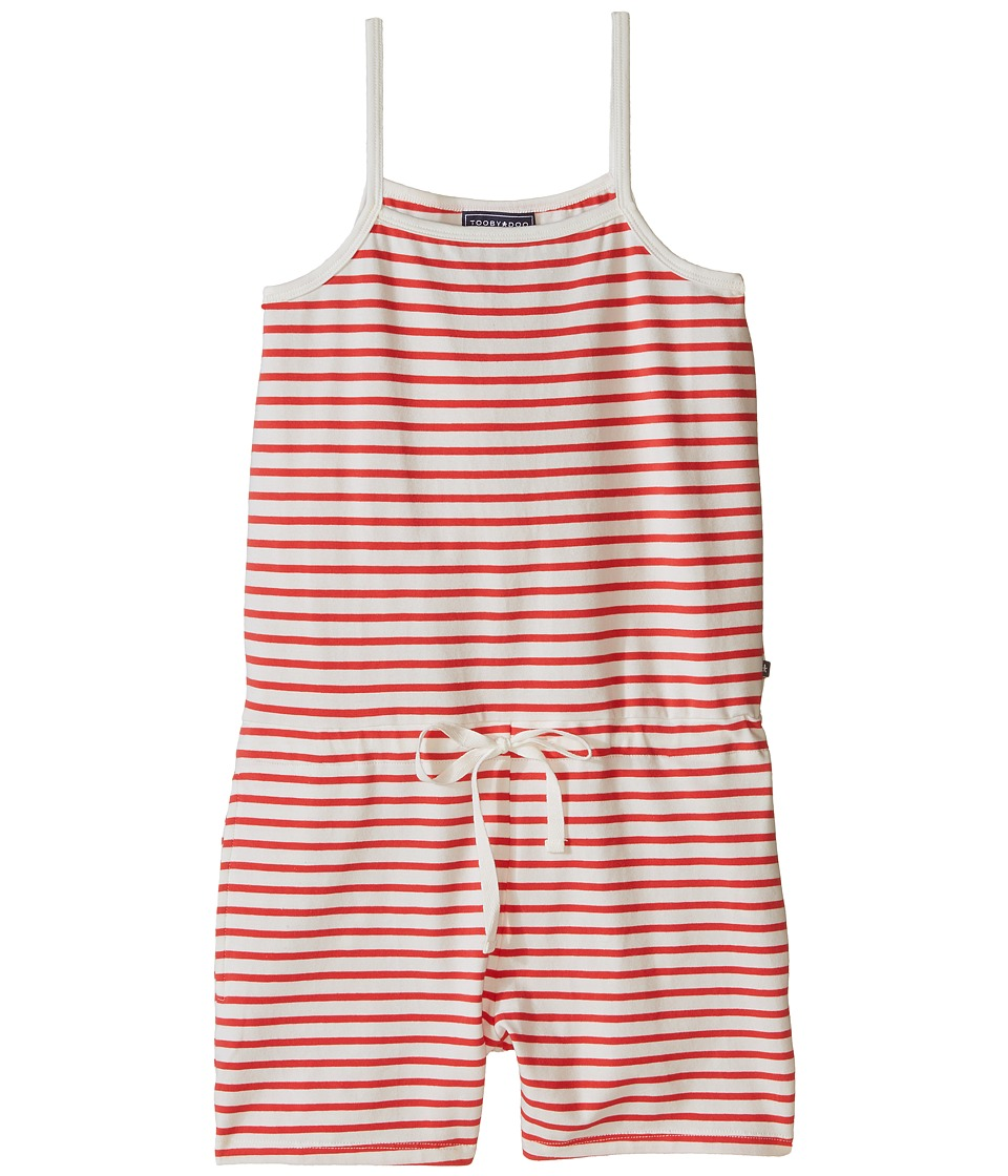 Toobydoo - Tank Beach Romper (Toddler/Little Kids/Big Kids) (Red/White) Girl's Jumpsuit & Rompers One Piece