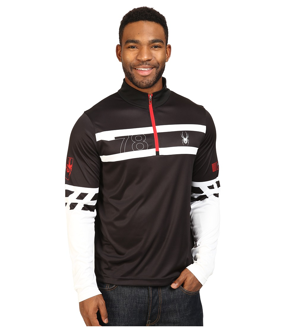 Spyder - Heritage Dry W.E.B. T-Neck Top (Black/White/Red) Men's Long Sleeve Pullover