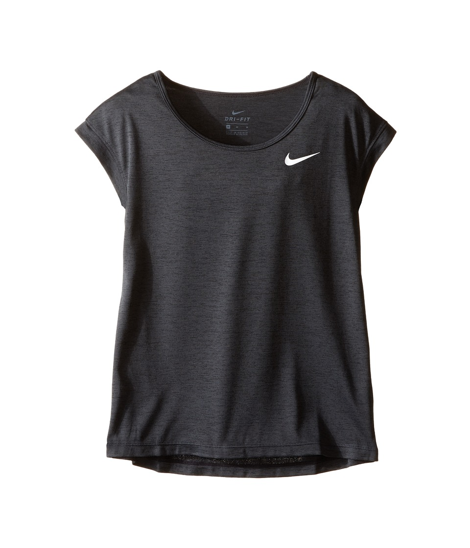 Nike Kids - Short Sleeve Training Top (Little Kid/Big Kid) (Black/White) Girl's Short Sleeve Pullover