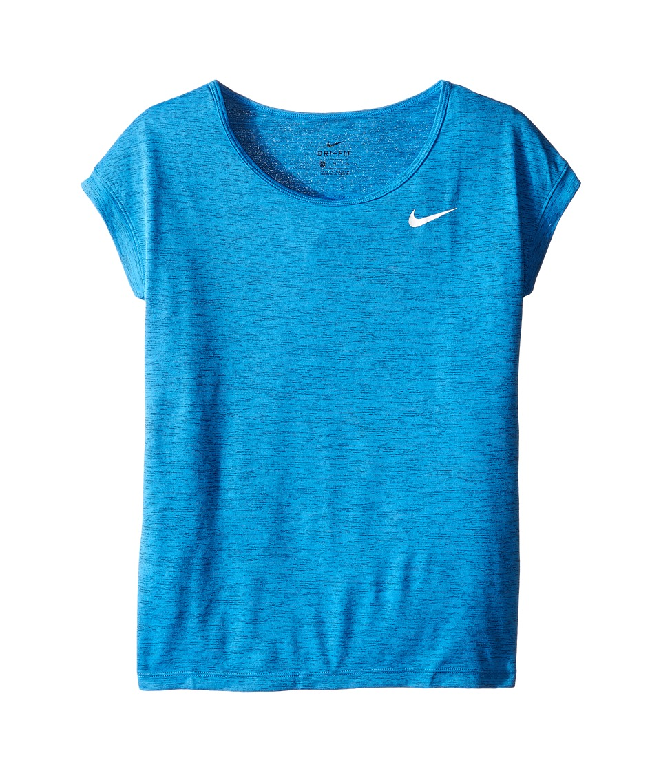 Nike Kids - Short Sleeve Training Top (Little Kid/Big Kid) (Light Photo Blue/White) Girl's Short Sleeve Pullover