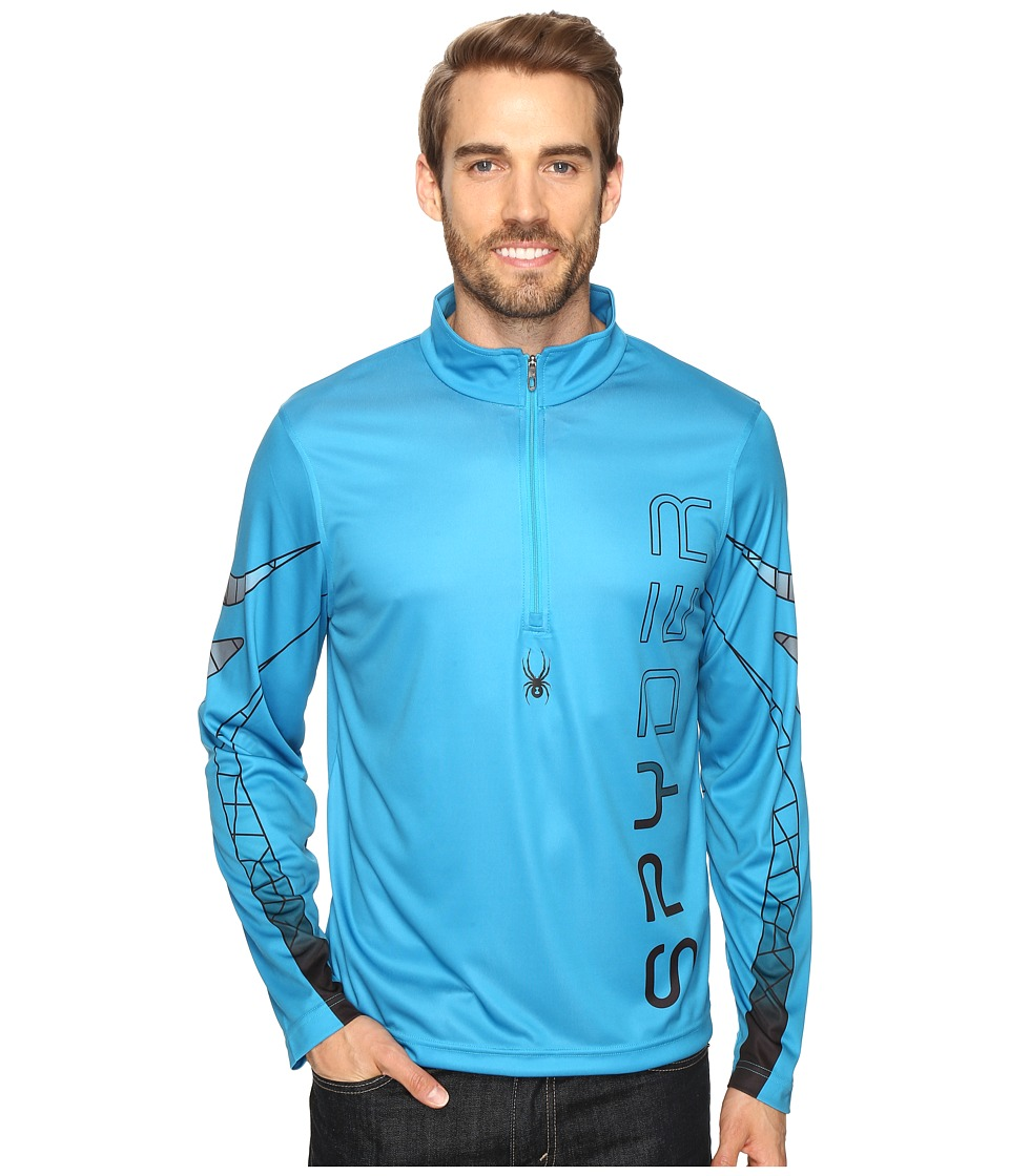 Spyder - Powertrack Dry W.E.B. T-Neck (Electric Blue/Black/Polar) Men's Long Sleeve Pullover