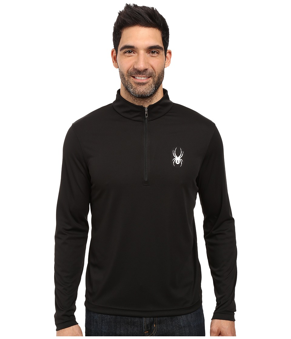 Spyder - Silver Drip Dry W.E.B. T-Neck Top (Black/Black) Men's Long Sleeve Pullover