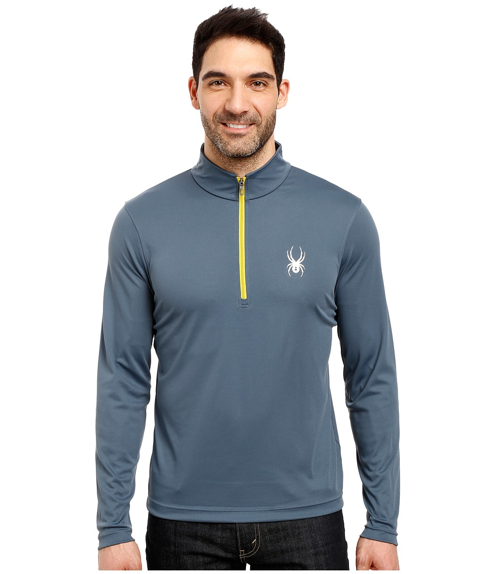 Spyder - Silver Drip Dry W.E.B. T-Neck Top (Union Blue/Sulfur) Men's Long Sleeve Pullover