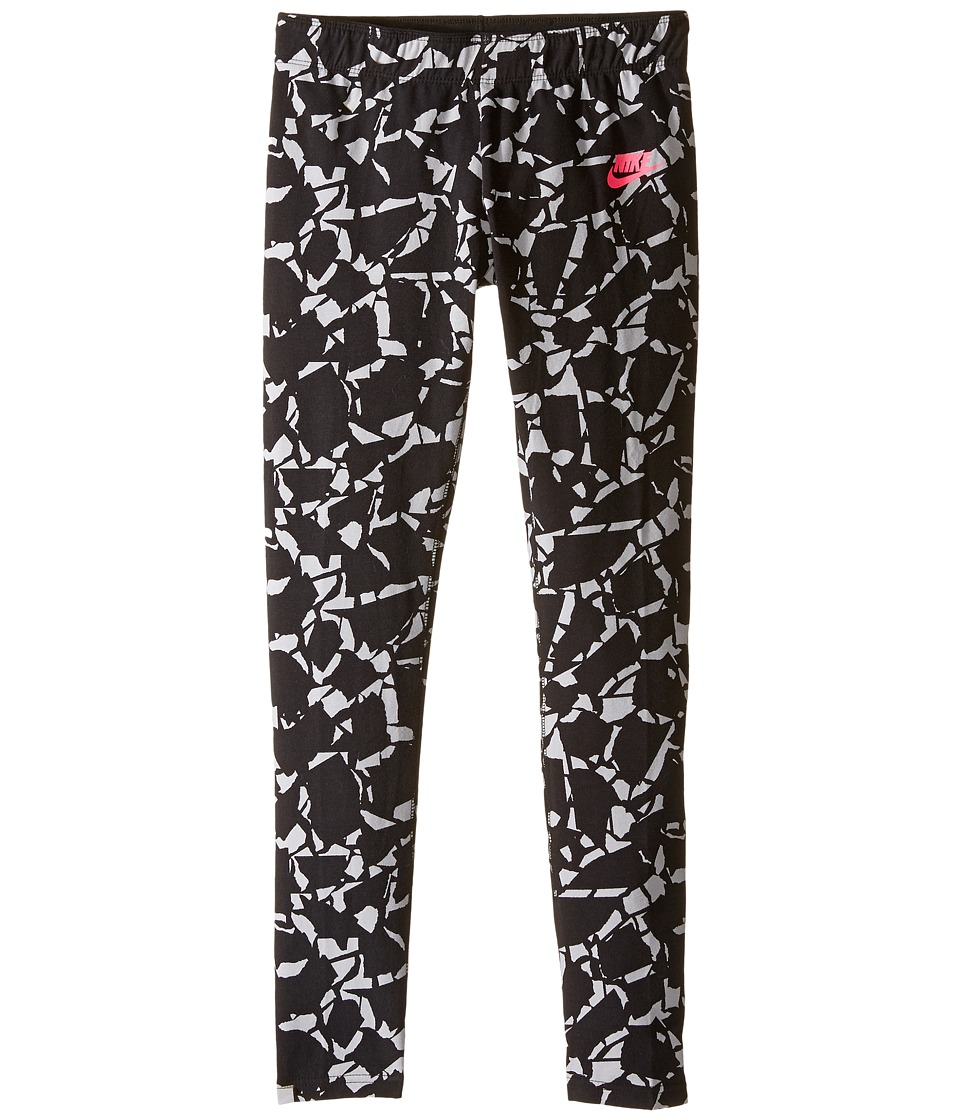 Nike Kids - Sportswear Printed Legging (Little Kid/Big Kid) (Black/Hyper Pink) Girl's Casual Pants
