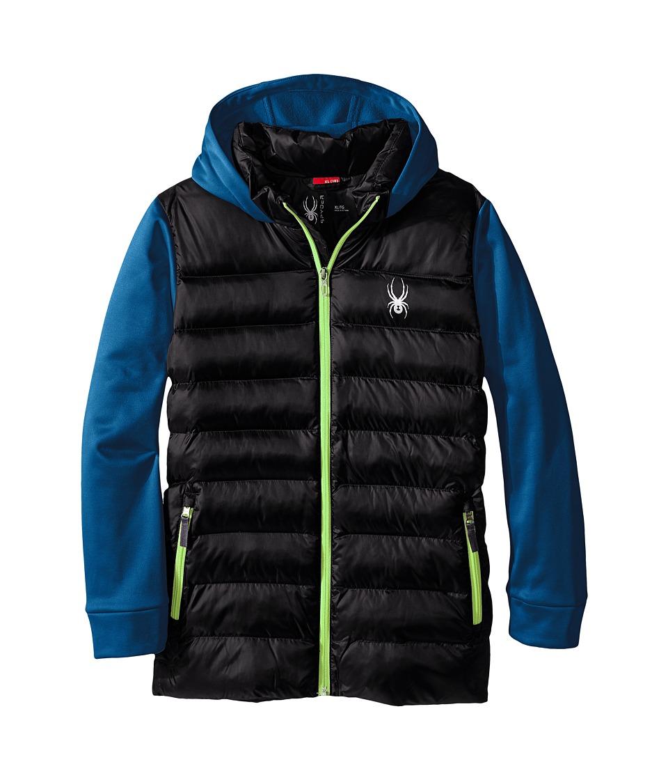 Spyder Kids - Mt. Elbert Synthetic Down Jacket (Little Kids/Big Kids) (Black/Concept Blue/Bryte Green) Boy's Coat