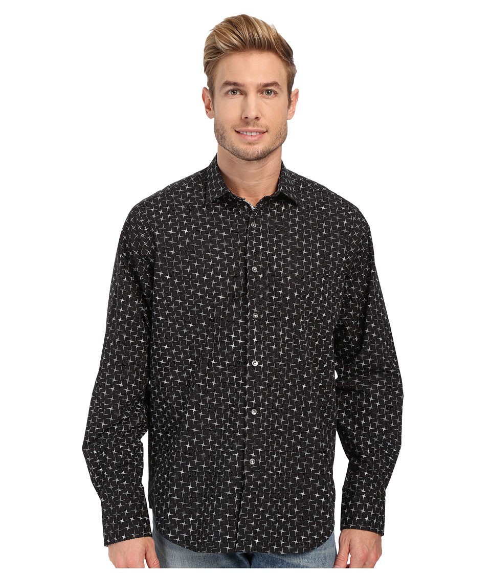 BUGATCHI - Black Jack Classic Fit Long Sleeve Woven Shirt (Black) Men's Long Sleeve Button Up