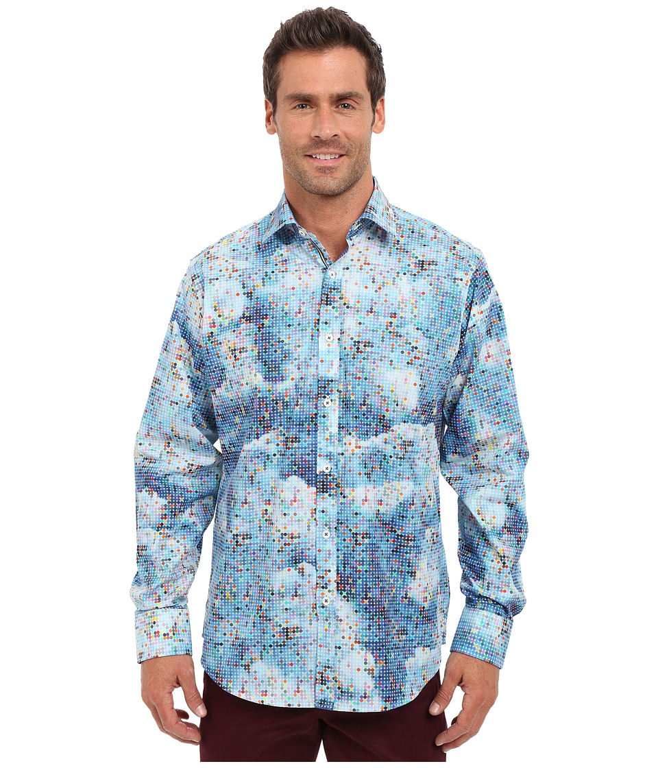 BUGATCHI - Blue Sky Classic Fit Long Sleeve Woven Shirt (Jade) Men's Long Sleeve Button Up