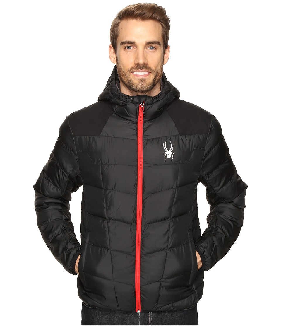 Spyder - Geared Hoody Synthetic Down Jacket (Black/Black/Red) Men's Jacket