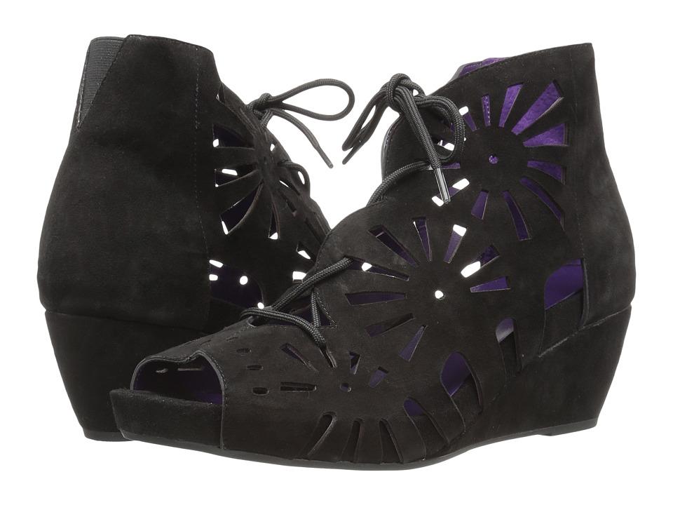 Vaneli - Iolana (Black Suede/Match Lace) Women's Wedge Shoes