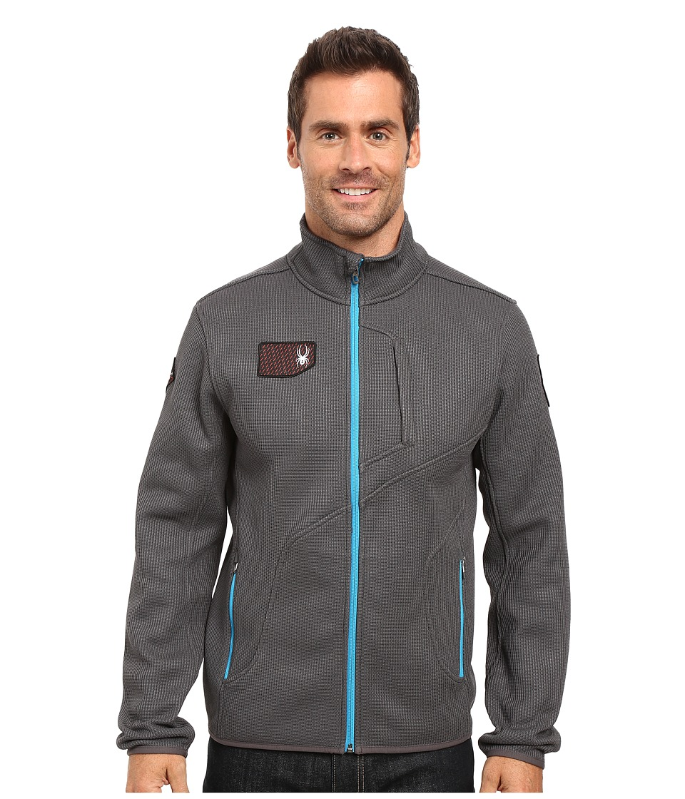 Spyder Wengen Full Zip Mid Weight Core Sweater (Polar/Electric Blue) Men