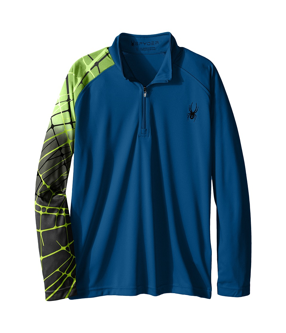 Spyder Kids - Linear Web Dry W.E.B. T-Neck (Little Kids/Big Kids) (Concept Blue/Bryte Green) Boy's Long Sleeve Pullover