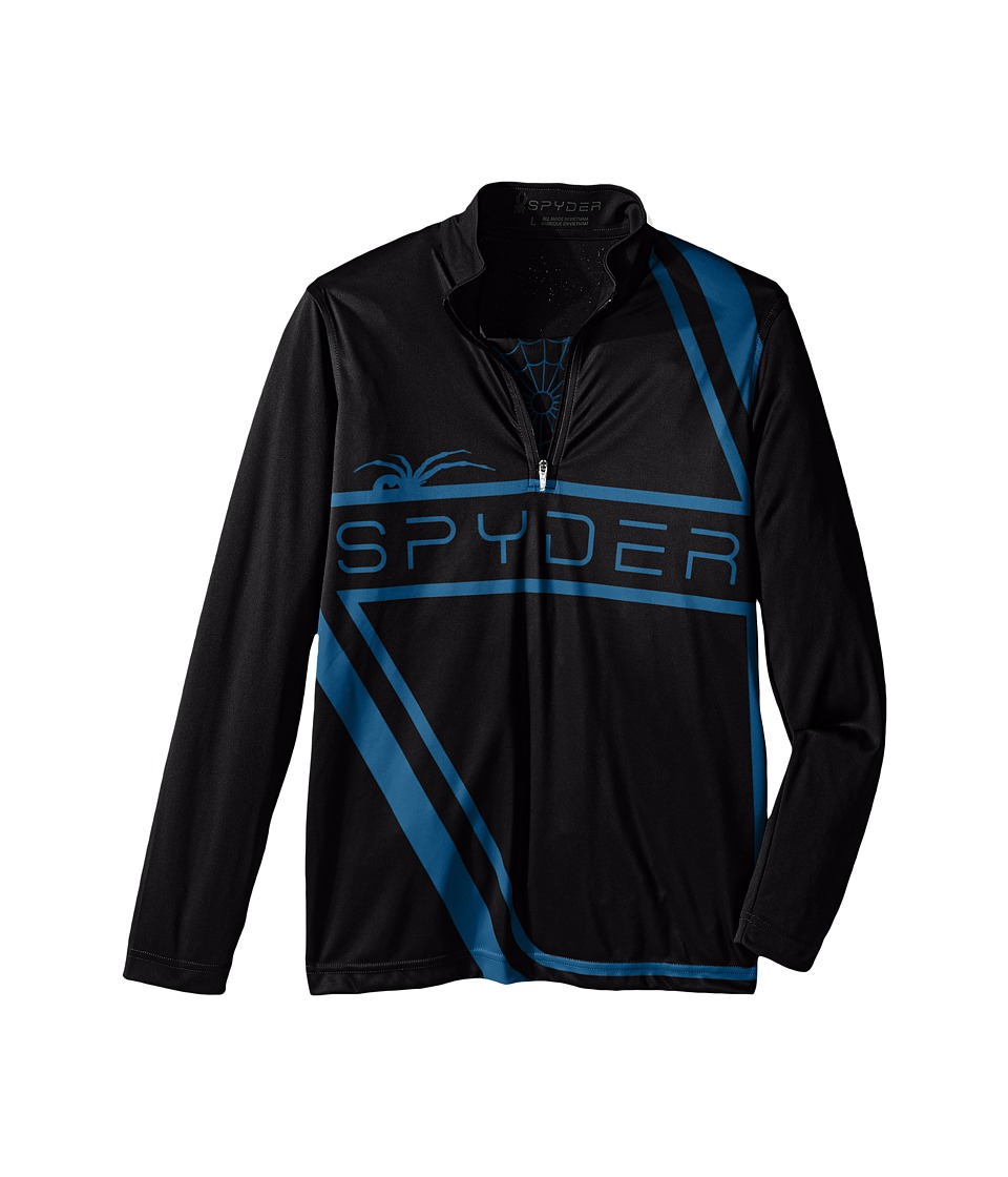 Spyder Kids - Bugcentric Dry W.E.B. T-Neck (Little Kids/Big Kids) (Black/Concept Blue) Boy's Clothing