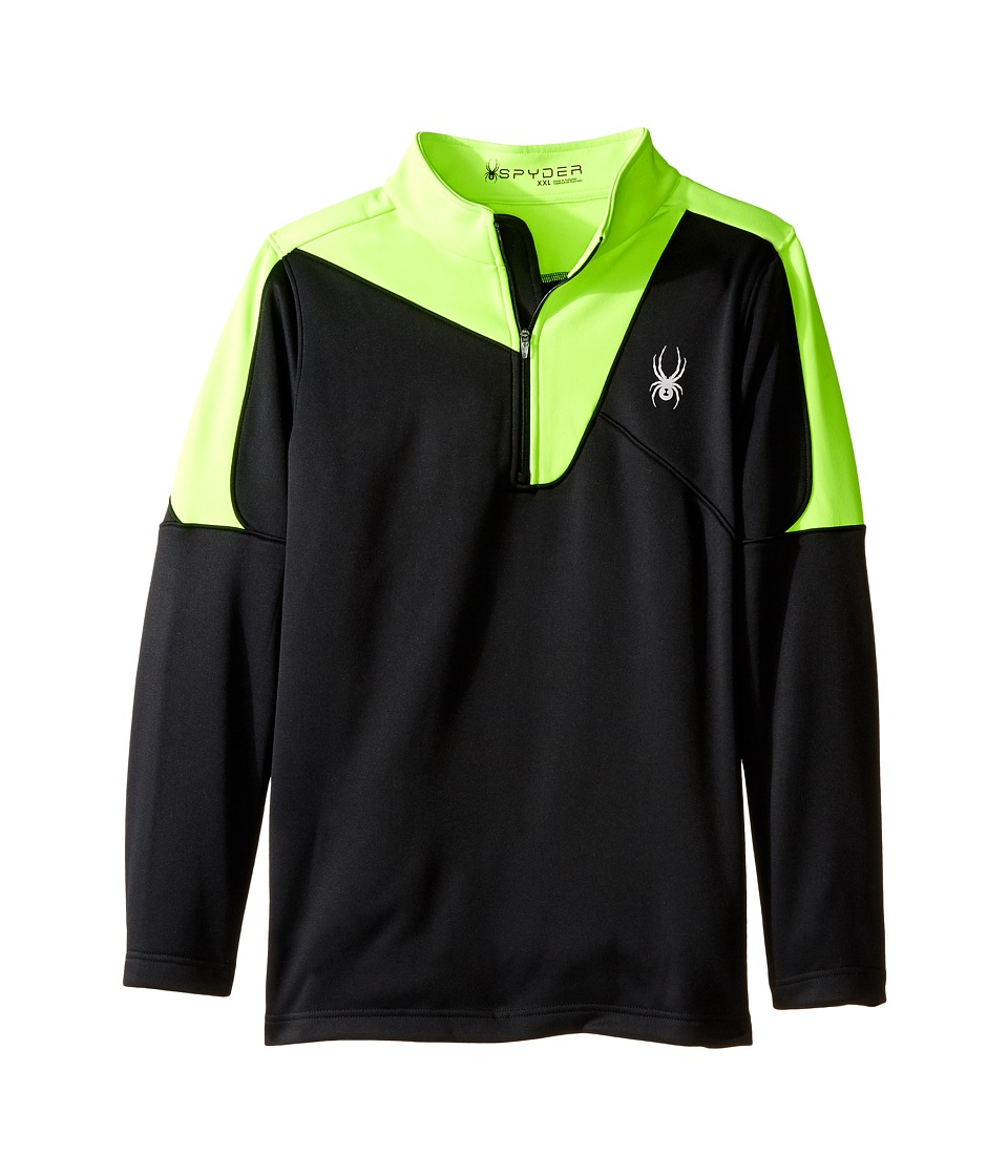 Spyder Kids - Charger Therma Stretch T-Neck (Little Kids/Big Kids) (Black/Bryte Green) Boy's Long Sleeve Pullover