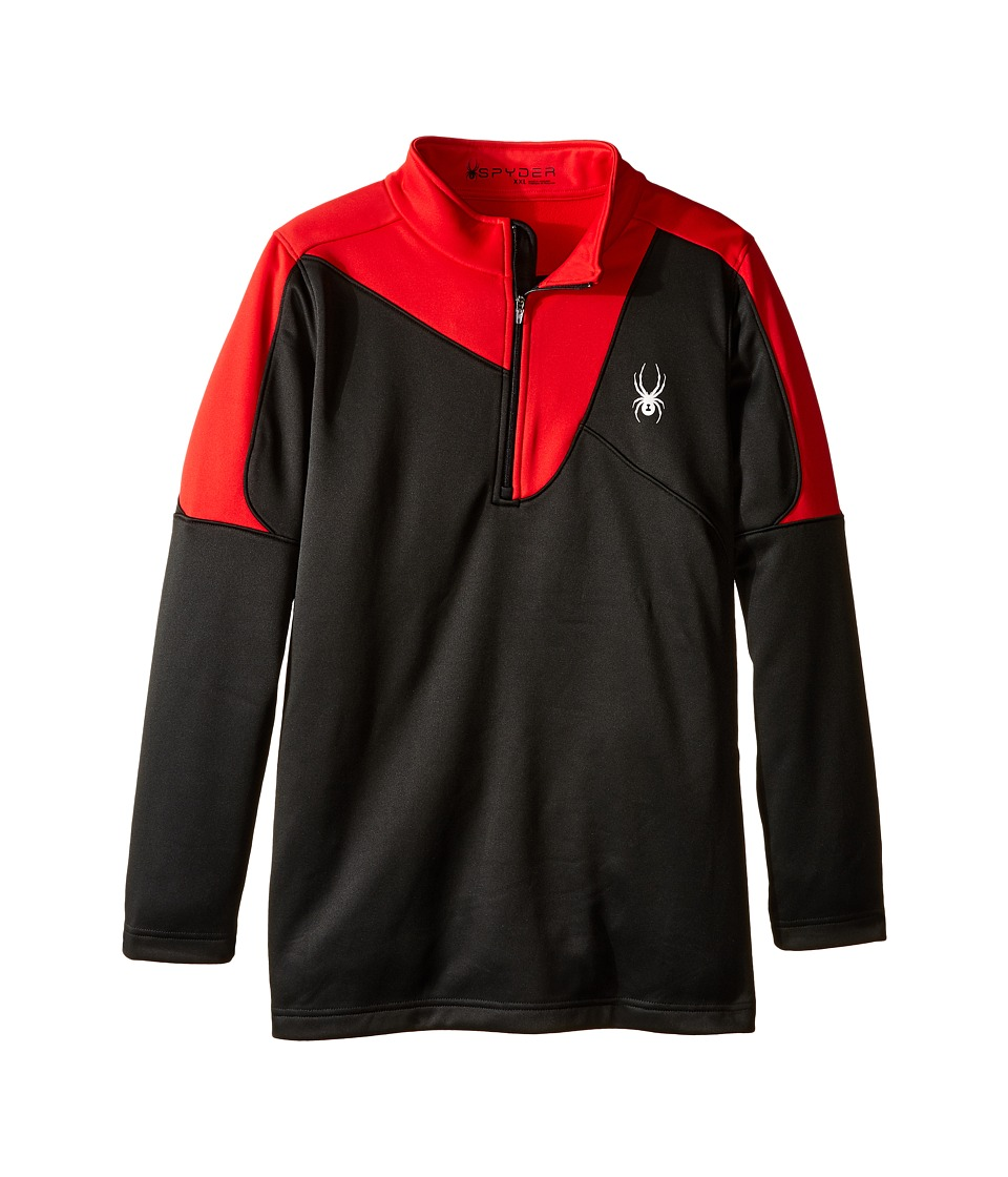 Spyder Kids - Charger Therma Stretch T-Neck (Little Kids/Big Kids) (Black/Red) Boy's Long Sleeve Pullover